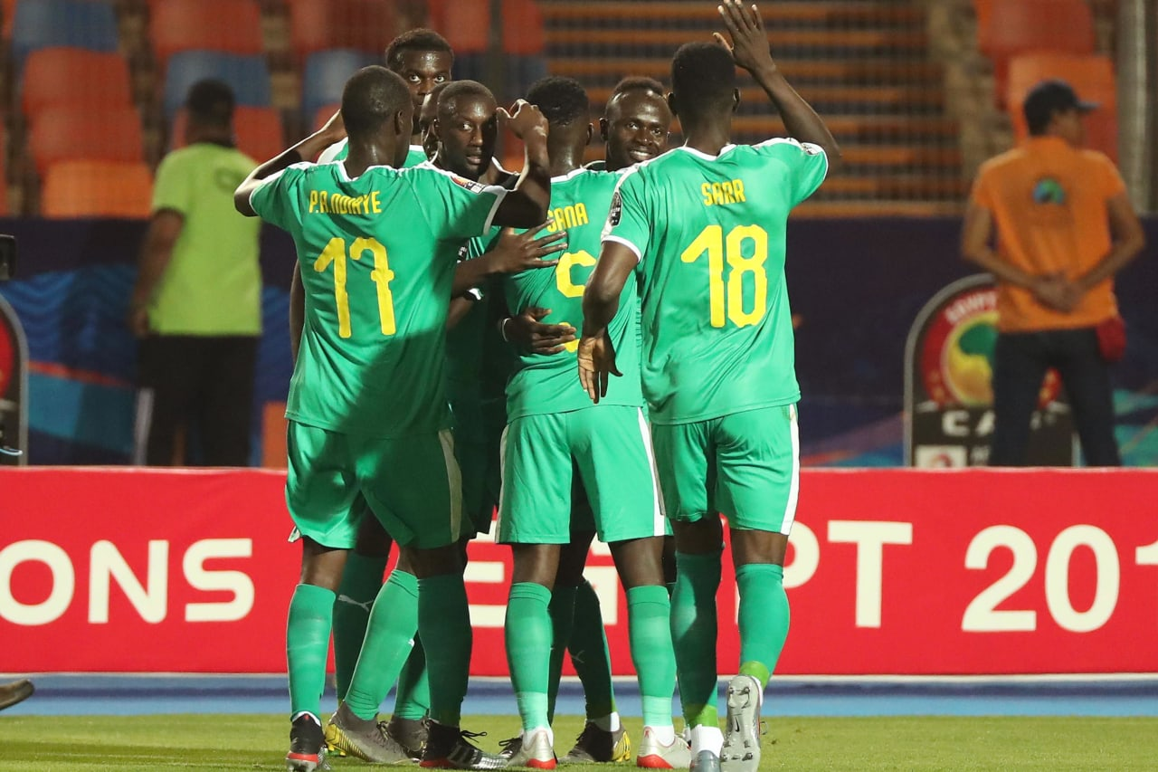 Sadio Mane of Senegal (second right) celebrates goal  during the 2019 Africa Cup of Nations Finals last 16 match between Uganda and Senegal at the Al Salam Stadium in Cairo, Egypt on 05 July 2019 ©BackpagePix