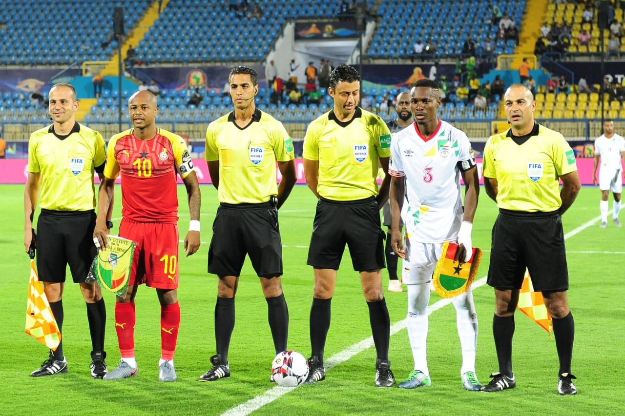 Ghana captain Andre Ayew and Benin captain Abdou Adenon with match officials the 2019 Africa Cup of Nations Finals game between Ghana and Benin at Ismailia Stadium in Ismailia, Egypt on 25 June 2019 © Ryan Wilkisky/BackpagePix