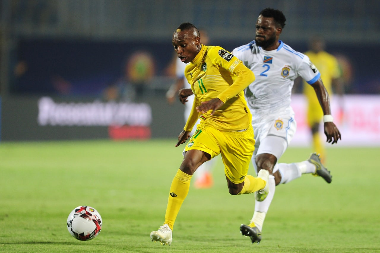 Khama Billiat of Zimbabwe takes on Djos Issama of DR Congo during the 2019 Africa Cup of Nations Finals game between Zimbabwe and DR Congo at 30 June Stadium in Cairo, Egypt on 30 June 2019 © Ryan Wilkisky/BackpagePix