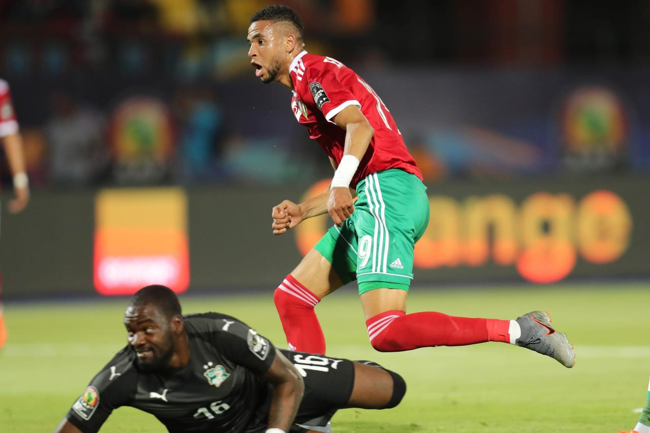 Youssef En-Nesyri of Morocco scores past Sylvain Gbohouo of Ivory Coast during the 2019 Africa Cup of Nations Finals football match between Morocco and Ivory Coast at the Al Salam Stadium, Cairo, Egypt on 28 June 2019 ©Gavin Barker/BackpagePix