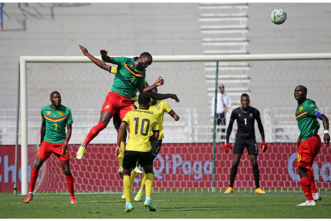 Nicolas Moumi Ngamaleu of Cameroon wins header during the Qatar 2022 FIFA World Cup Qualifier between Mozambique and Cameroon at Grand Stade De Tanger in Morocco on 11 October 2021 ©BackpagePix