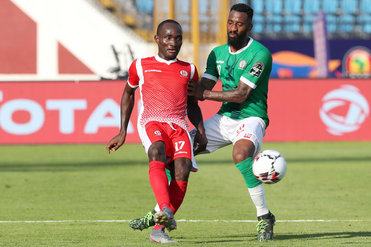 Amissi Cedric of Burundi and Romain Metanire of Madagascar during the 2019 Africa Cup of Nations match between Madagascar and Burundi at the Alexandria Stadium, Alexandria on the 27 June 2019 ©Muzi Ntombela/BackpagePix