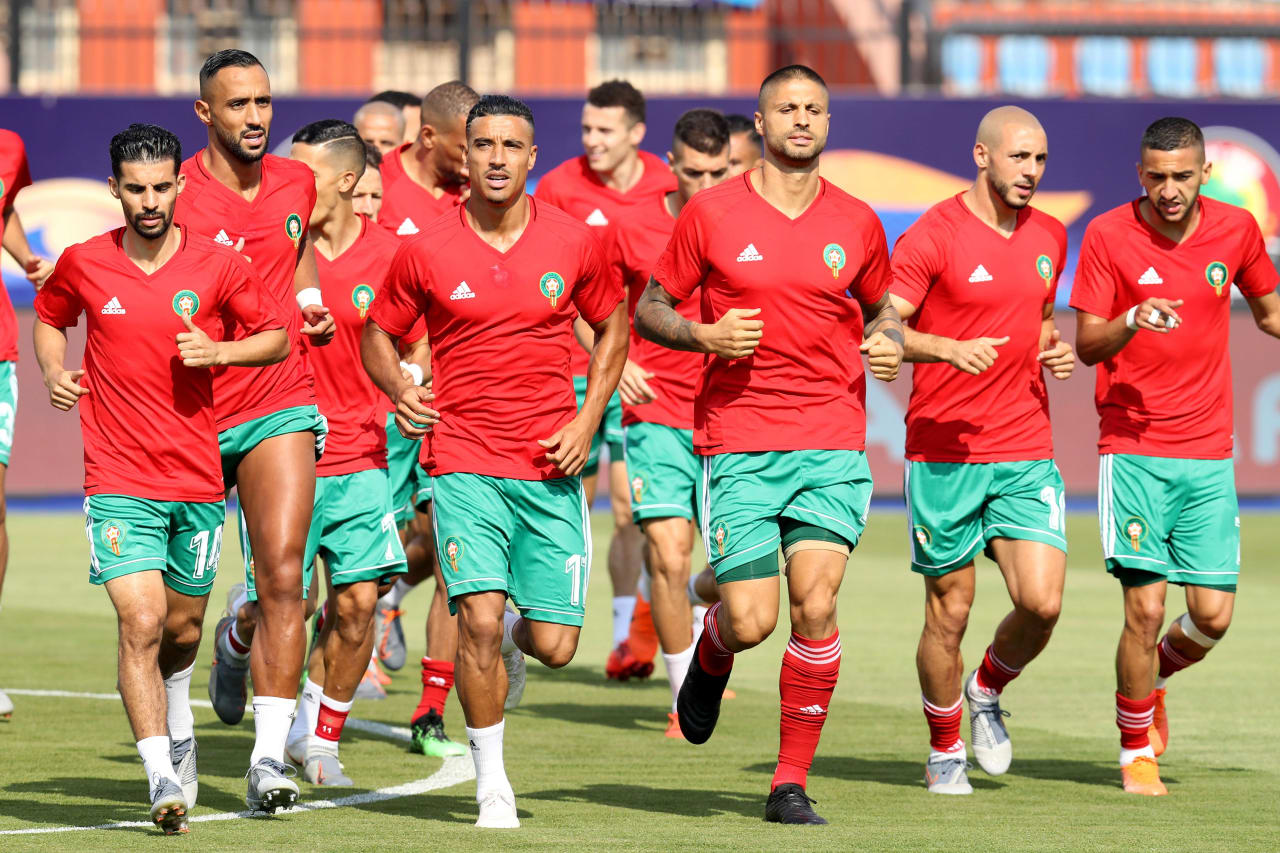 Nabil Dirar of Morocco leads a warm up during the 2019 Africa Cup of Nations Finals match between Morocco and Namibia at Training at Al-Salaam Stadium, Cairo, Egypt on 23 June 2019 ©Samuel Shivambu/BackpagePix