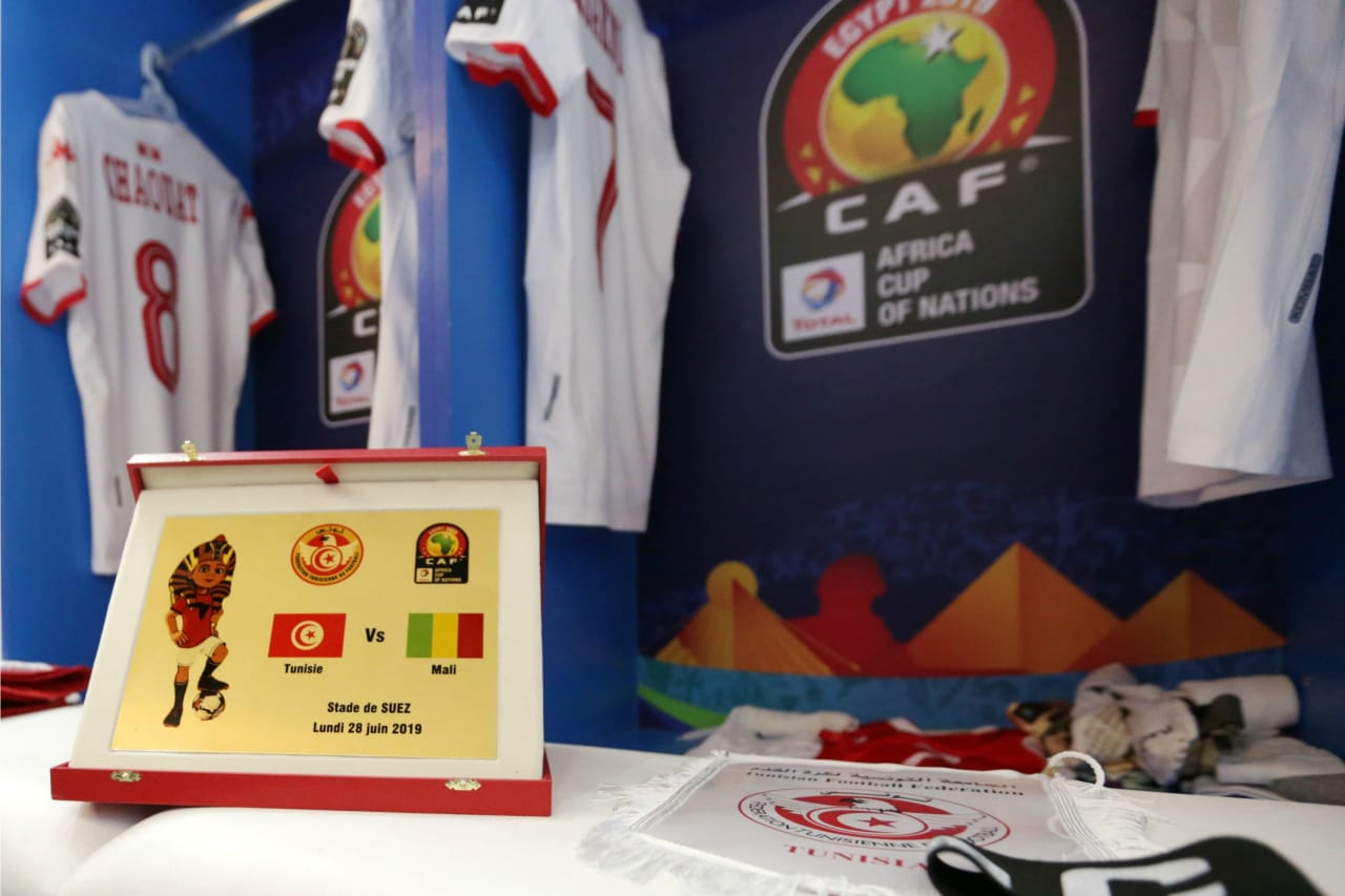 Tunisia change room during the 2019 Africa Cup of Nations Finals match between Tunisia and Mali at Suez Stadium, Suez, Egypt on 28 June 2019 ©Samuel Shivambu/BackpagePix
