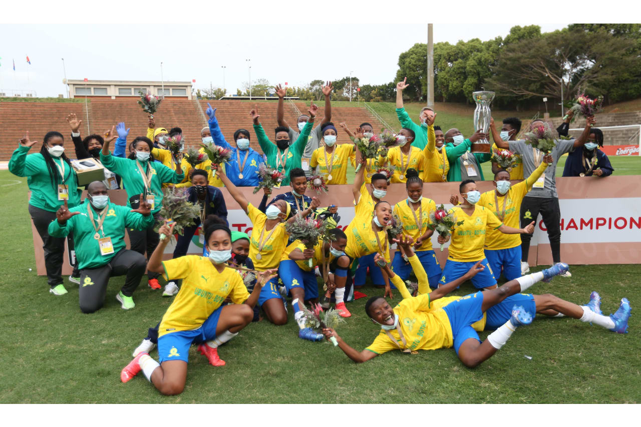 Mamelodi Sundowns winners of the 2021 Total Energies CAF Womens Champions League COSAFA Qualifier final match between Black Rhinos Queens and Mamelodi Sundowns Ladies at Goodwill Zwelithini Stadium, Durban, on 04