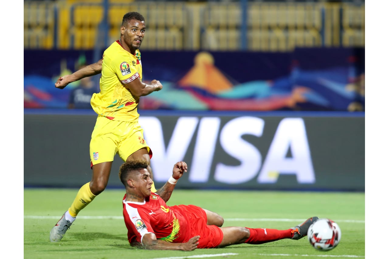 Steve Mounie of Benin tackled by Marcelo Djalo of Guinea-Bissau during the 2019 Africa Cup of Nations Finals Benin and Guinea-Bissau at Ismailia Stadium, Ismailia, Egypt on 29 June 2019