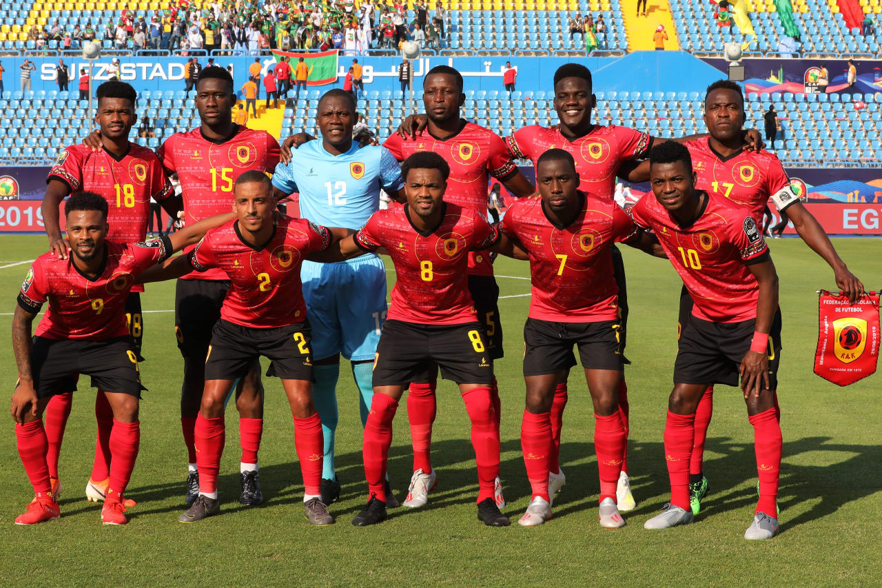 Angola Team Picture during the 2019 Africa Cup of Nations Finals football match between Mauritania and Angola  at the Suez Stadium, Suez, Egypt on 29 June 2019 ©Gavin Barker/BackpagePix
