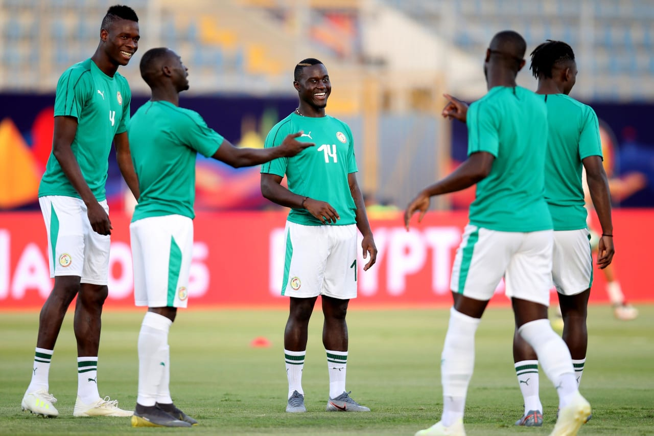 Henri Saivet of Senegal shares a joke with teammates when warm uping during the 2019 Africa Cup of Nations Finals match between Senegal and Algeria at 30 June Stadium, Cairo, Egypt on 27 June 2019 ©Samuel Shivambu/BackpagePix