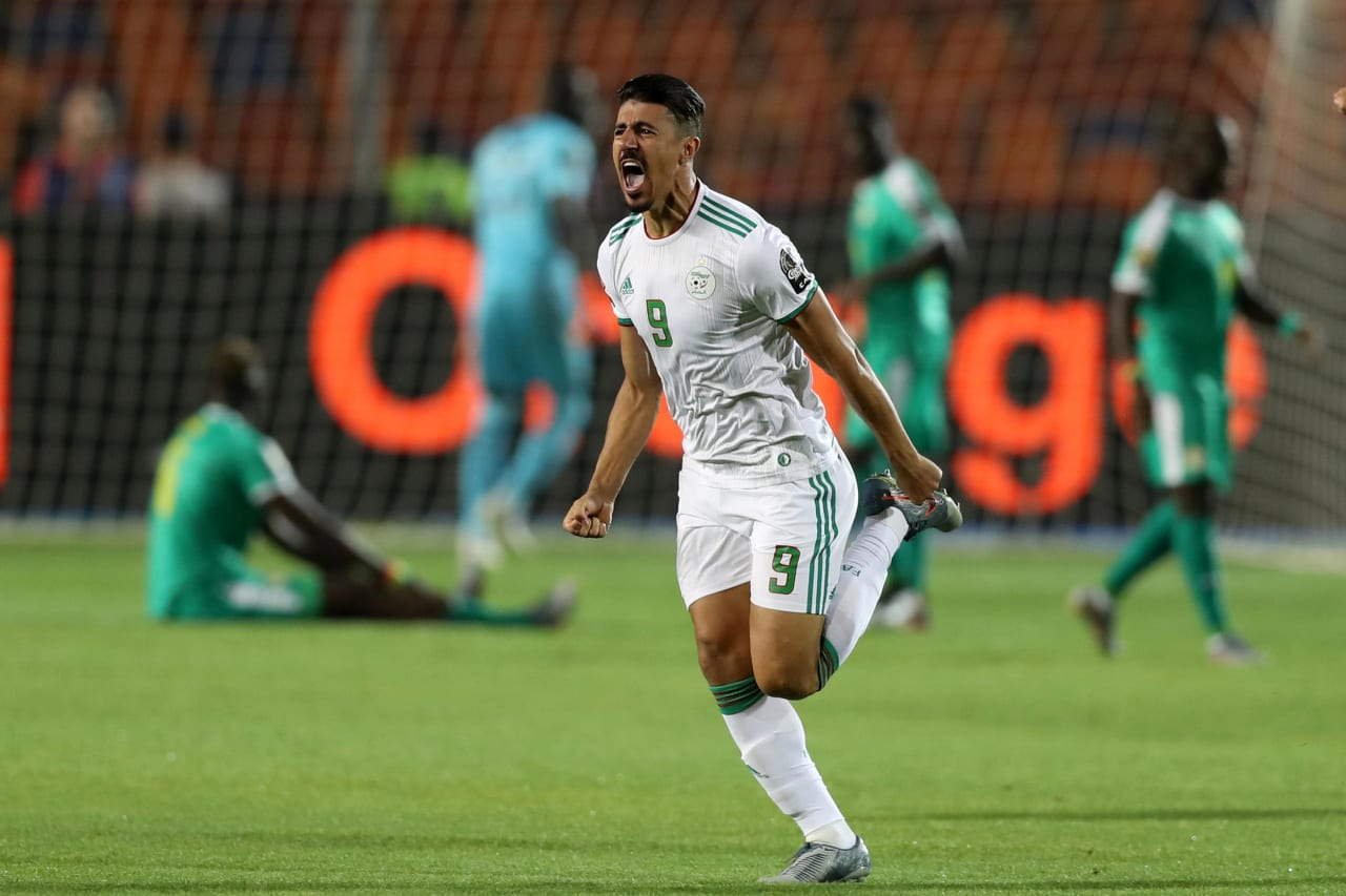 Baghdad Bounedjah of Algeria celebrates goal during the 2019 Africa Cup of Nations Finals, Final match between Senegal and Algeria at Cairo International Stadium, Cairo, Egypt on 19 July 2019 ©Samuel Shivambu/BackpagePix