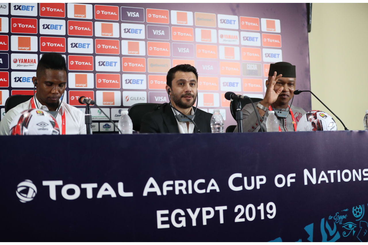Samuel Eto'o, Ahmed Hassan and El Hadji Diouf CAF legends during the 2019 Africa Cup of Nations Finals CAF press conference at Cairo International Stadium, Cairo, Egypt on 30 June 2019
