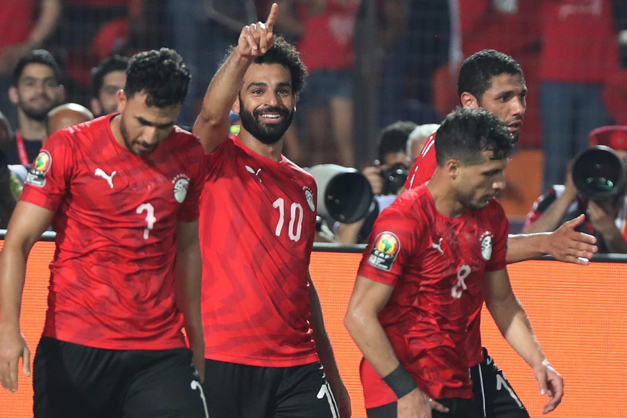 Mohamed Salah of Egypt (second from left) celebrates goal during the 2019 Africa Cup of Nations Finals football match between Egypt and DR Congo at the Cairo International Stadium, Cairo, Egypt on 26 June 2019 ©Gavin Barker/BackpagePix