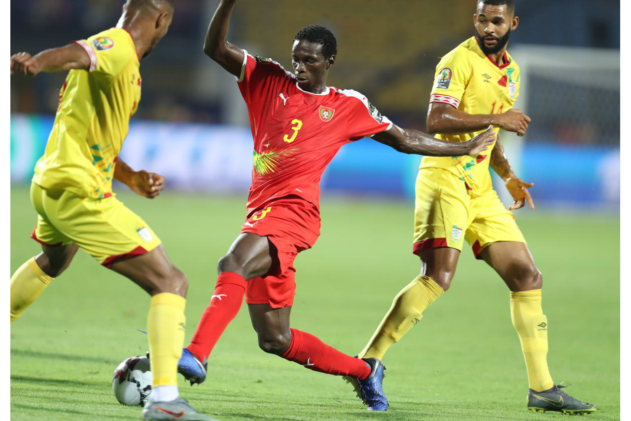 Braima Jorge of Guinea-Bissau challenged by Cebio Soukou of Benin during the 2019 Africa Cup of Nations Finals Benin and Guinea-Bissau at Ismailia Stadium, Ismailia, Egypt on 29 June 2019