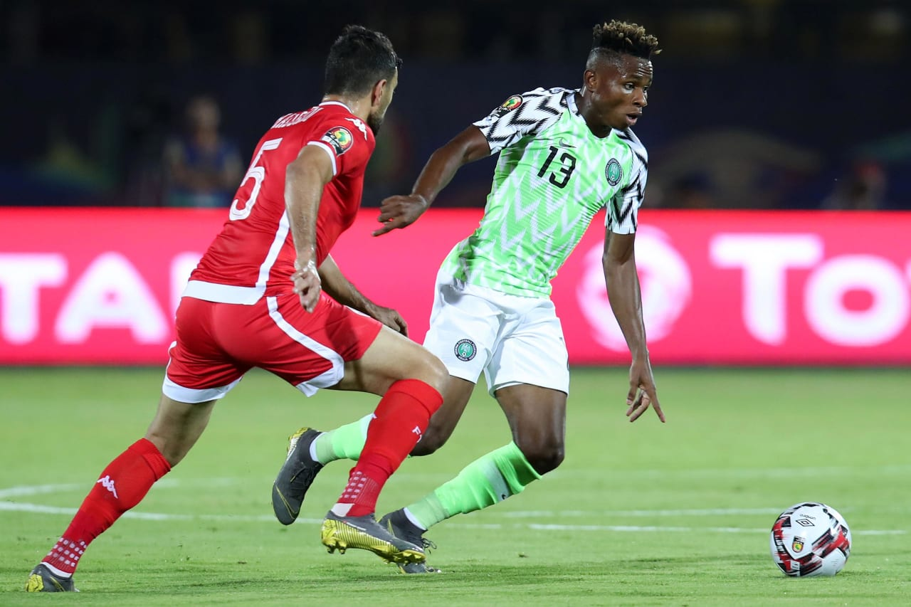 Samuel Chukwueze of Nigeria challenged by Oussama Hadadi of Tunisia during the 2019 Africa Cup of Nations 3rd and 4th Place match between Tunisia and Nigeria at the Al Salam Stadium, Cairo on the 17 July 2019 ©Muzi Ntombela/BackpagePix