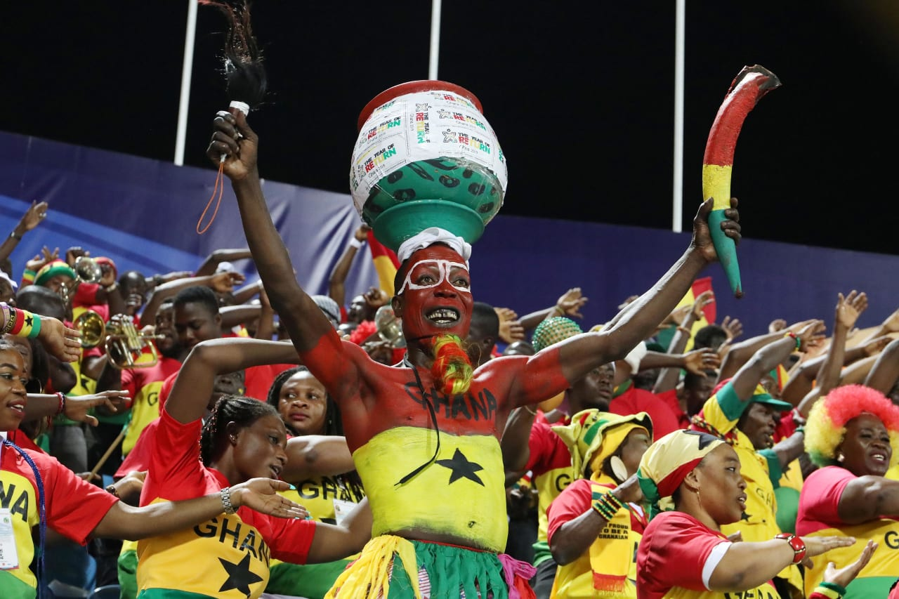 Ghana fans during the 2019 Africa Cup of Nations Last 16 match between Ghana and Tunisia at the Ismailia Stadium, Ismailia on the 08 July 2019 ©Muzi Ntombela/BackpagePix