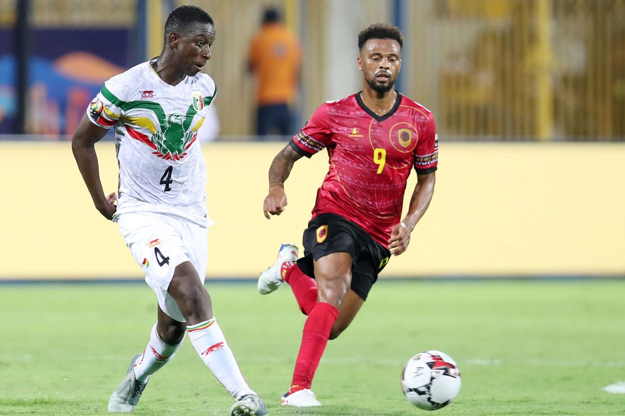 Amadou Haidara of Mali challenged by Alfredo Ribeiro Fredy of Angola during the 2019 Africa Cup of Nations match between Angola and Mali at the Ismailia Stadium, Ismailia on the 02 July 2019 ©Muzi Ntombela/BackpagePix