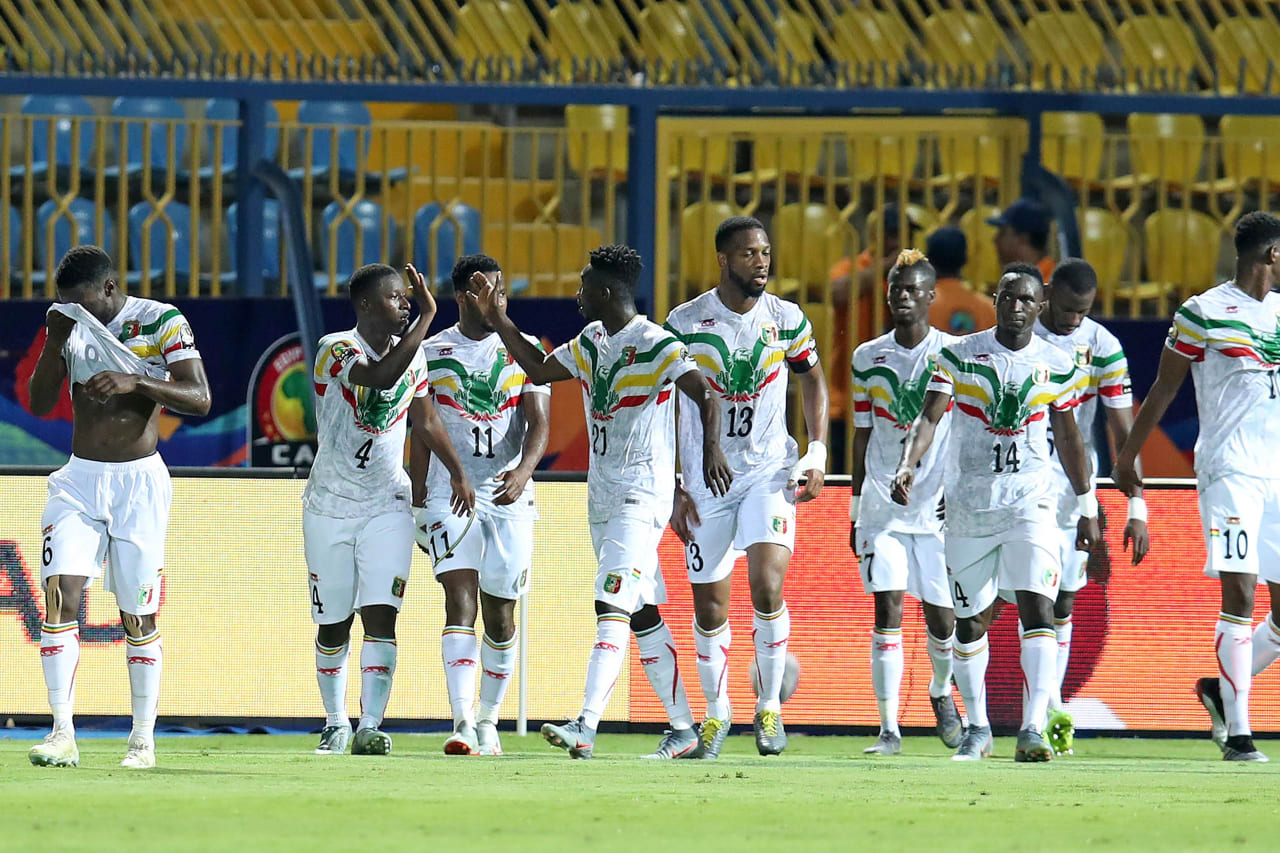 Amadou Haidara of Mali (4) celebrates goal with teammates during the 2019 Africa Cup of Nations match between Angola and Mali at the Ismailia Stadium, Ismailia on the 02 July 2019 ©Muzi Ntombela/BackpagePix
