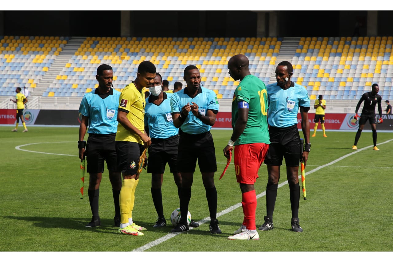 Captains Reinildo Mandava of Mozambique and Vincent Aboubakar of Cameroon at the coin toss before the Qatar 2022 FIFA World Cup Qualifier between Mozambique and Cameroon at Grand Stade De Tanger in Morocco on 11