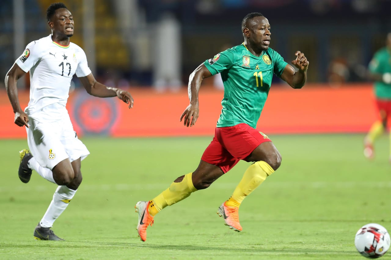 Christian Bassogog of Cameroon challenged by Mubarak Wakaso of Ghana during the 2019 Africa Cup of Nations Finals Cameroon and Ghana at Ismailia Stadium, Ismailia, Egypt on 29 June 2019 ©Samuel Shivambu/BackpagePix