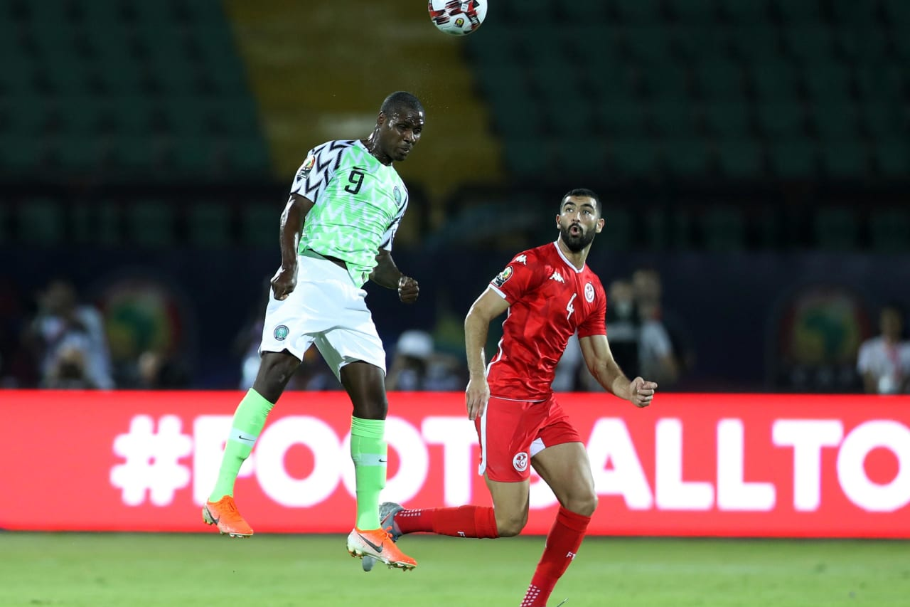 Odion Jude Ighalo of Nigeria challenged by Yassine Merriah of Tunisia during the 2019 Africa Cup of Nations Finals, 3rd and 4th place match between Tunisia and Nigeria at Al Salam Stadium, Cairo, Egypt on 17 July 2019 ©Samuel Shivambu/BackpagePix