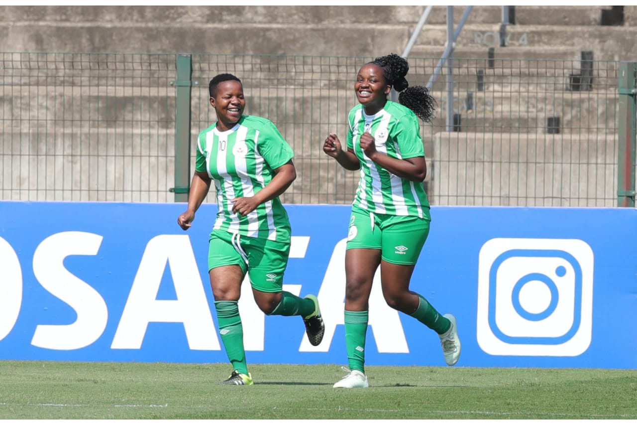 Mavis Chirandu of Black Rhinos celebrates goal with teammates during the 2021 Total Energies CAF Womens Champions League COSAFA Qualifier semifinal1 match between Black Rhinos and Double Action Ladies at Goodwill