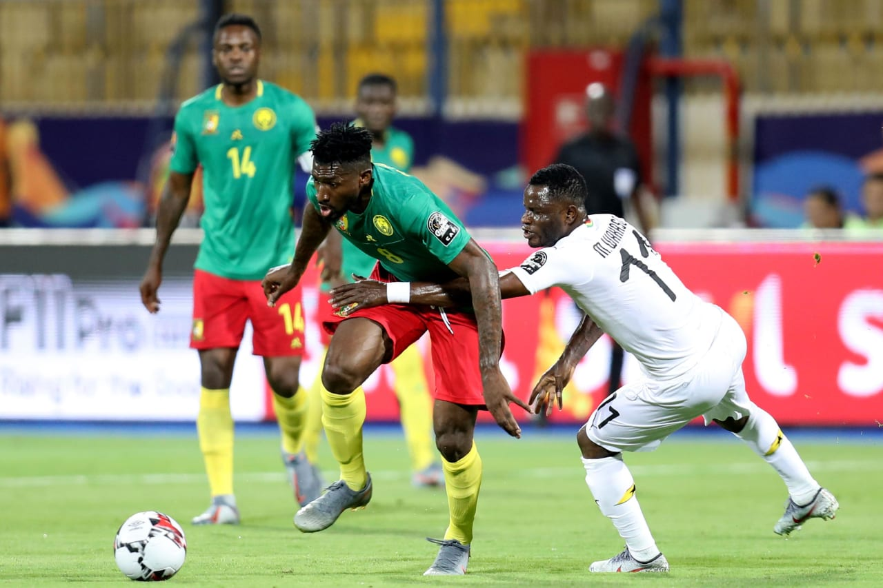Andre Frank Zambo Anguissa of Cameroon challenged by Mubarak Wakaso of Ghana during the 2019 Africa Cup of Nations Finals Cameroon and Ghana at Ismailia Stadium, Ismailia, Egypt on 29 June 2019 ©Samuel Shivambu/BackpagePix