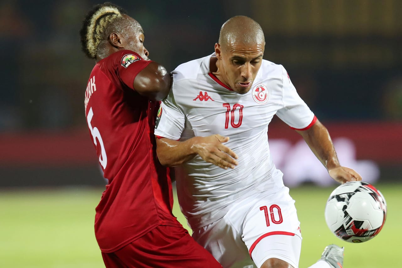 Wahbi Khazri of Tunisia challenged by Razakanantenaina Pascal of Madagascar during the 2019 Africa Cup of Nations Quarterfinals match between Madagascar and Tunisia at the Al Salam Stadium, Cairo on the 10 July 2019 ©Muzi Ntombela/BackpagePix