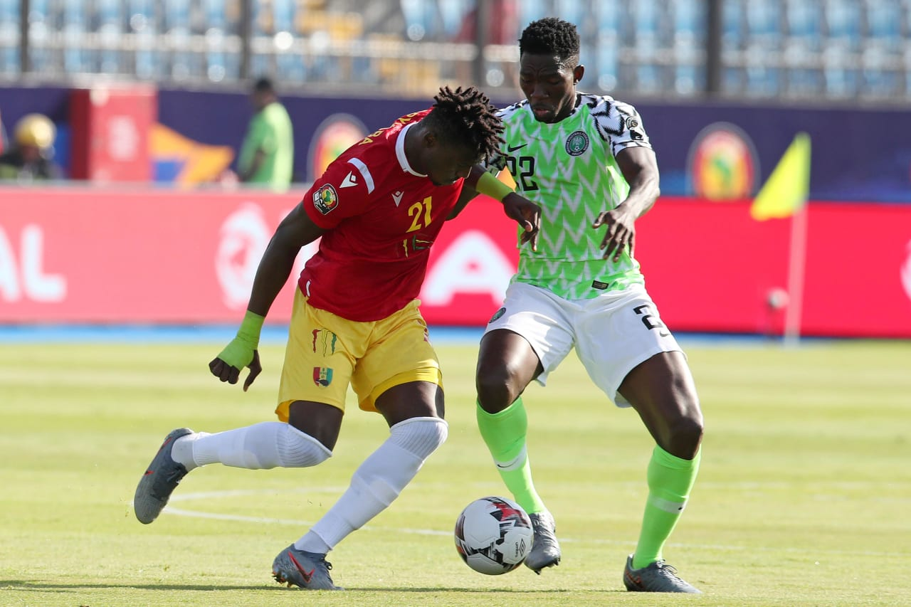 Sory Kaba of Guinea challenged by Josiah Kenneth Omeruo of Nigeria during the 2019 Africa Cup of Nations match between Nigeria and Guinea at the Alexandria Stadium, Alexandria on the 26 June 2019 ©Muzi Ntombela/BackpagePix
