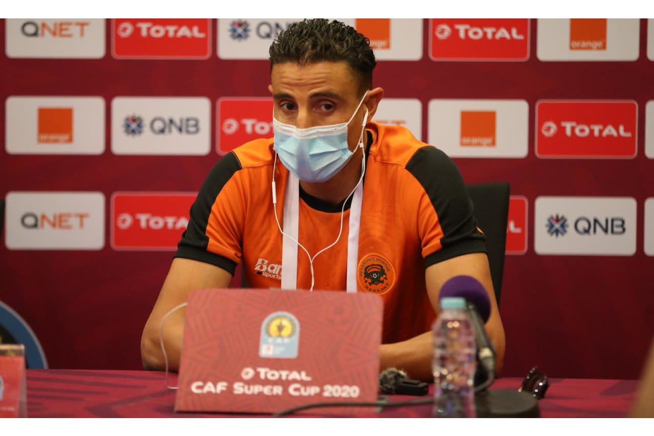 RS Berkane captain Mohamed Aziz in the press conference before Total CAF Super Cup, Doha
