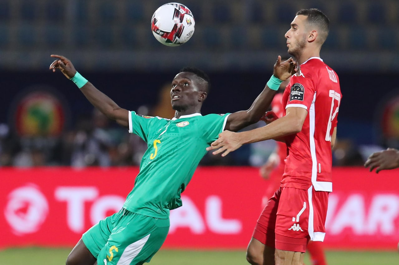 Idrissa Gana Gueye of Senegal challenged by Ellyes Joris Skhiri of Tunisia during the 2019 Africa Cup of Nations Semifinals match between Senegal and Tunisia at the 30 June Stadium, Cairo on the 14 July 2019 ©Muzi Ntombela/BackpagePix