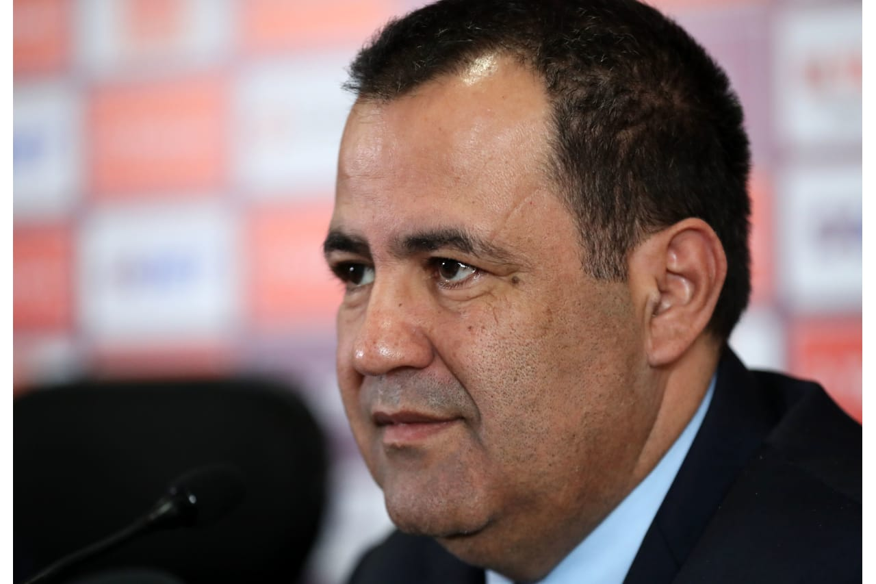 Mouad Hajji, CAF General Secretary during the 2019 Africa Cup of Nations Finals CAF press conference at Cairo International Stadium, Cairo, Egypt on 05 July 2019