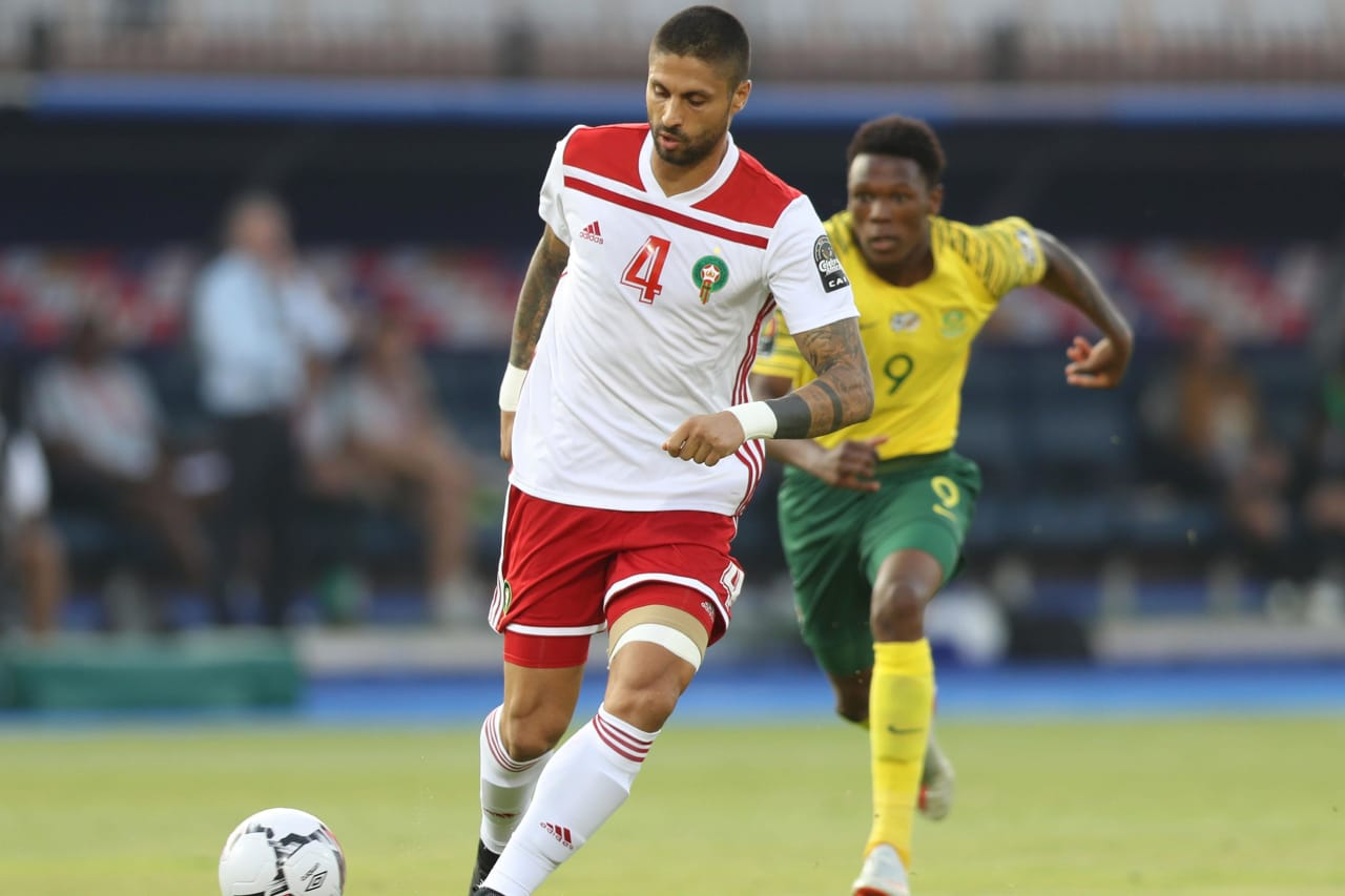 Manuel Marouan Da Costa Trinidad of Morocco challenged by Lebo Mothiba of South Africa during the 2019 Africa Cup of Nations Finals South Africa and Morocco at Al Salam Stadium, Cairo, Egypt on 01 July 2019 ©Samuel Shivambu/BackpagePix