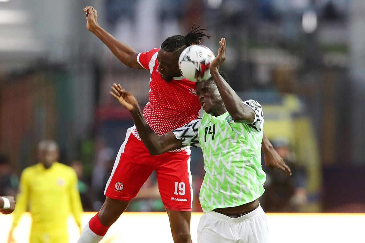 Nsabiyumva Frederic of Burundi challenged by Paul Onuach of Nigeria during the 2019 Africa Cup of Nations Finals match between Nigeria and Burundi at the Alexandria Stadium, Alexandria on the 22 June 2019 ©Muzi Ntombela/BackpagePix