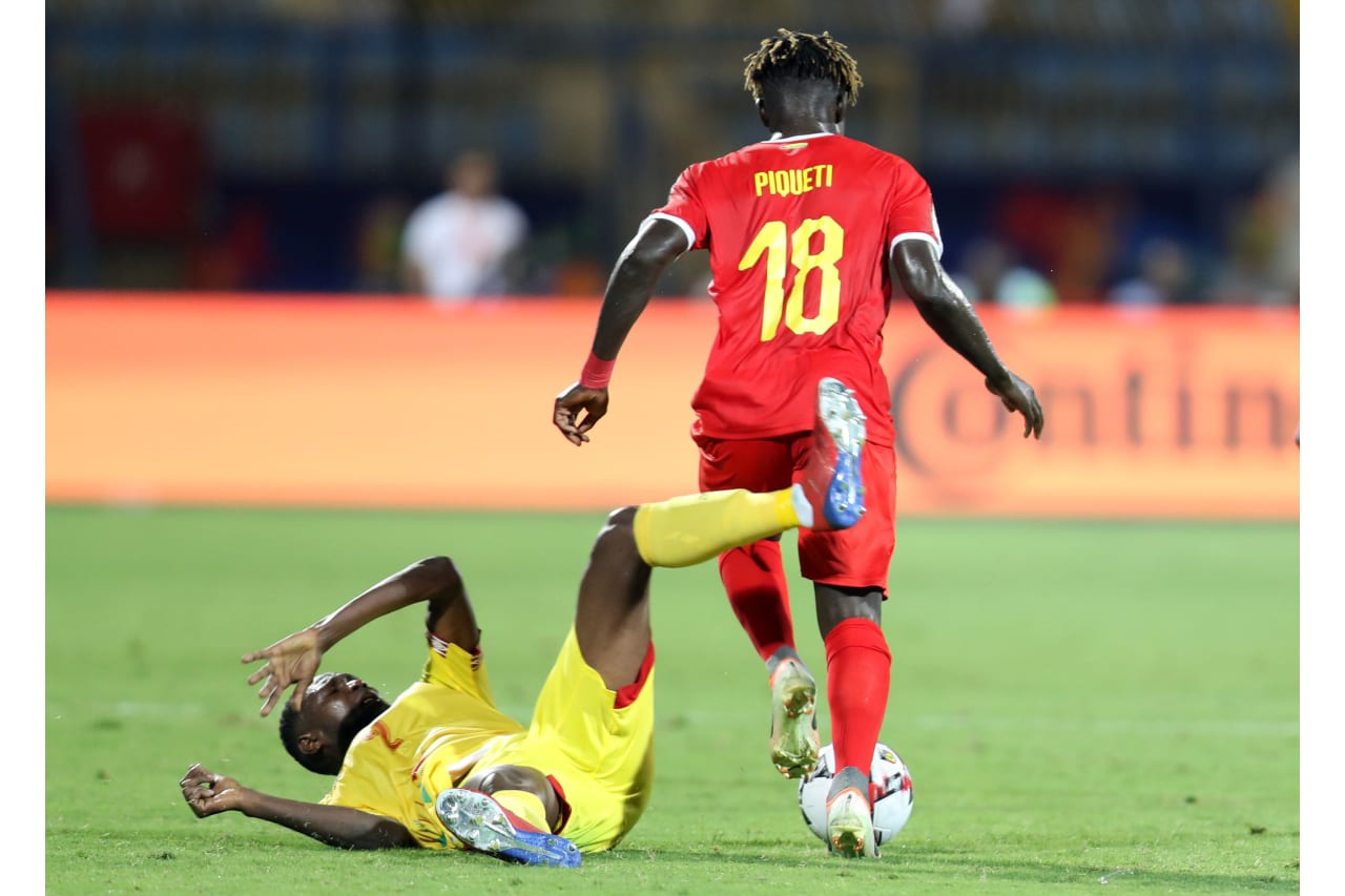 Seidou Baraze of Benin challenged by Piqueti Silva of Guinea-Bissau during the 2019 Africa Cup of Nations Finals Benin and Guinea-Bissau at Ismailia Stadium, Ismailia, Egypt on 29 June 2019