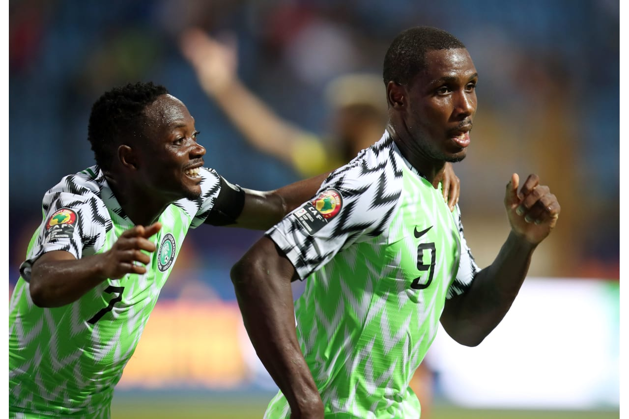 Odion Jude Ighalo of Nigeria celebrates goal with Ahmed Musa of Nigeria during the 2019 Africa Cup of Nations Last 16 match between Nigeria and Cameroon at the Alexandria Stadium, Alexandria on the 06 July 2019