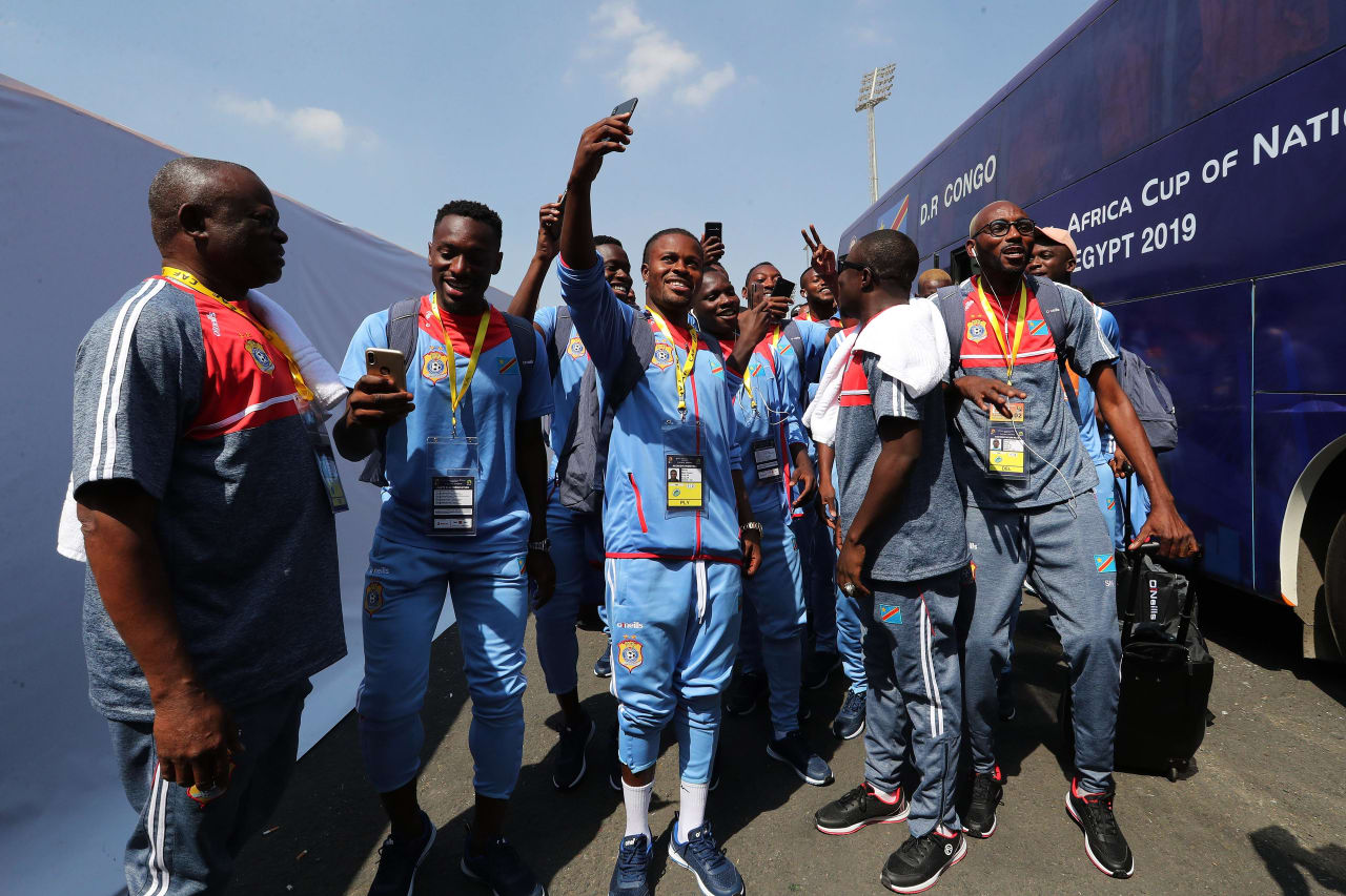 DR Congo team arrival, Tresor Mputu (c) during the 2019 Africa Cup of Nations Finals football match between DR Congo and Uganda  at the Cairo International Stadium, Cairo, Egypt on 22 June 2019 ©BackpagePix