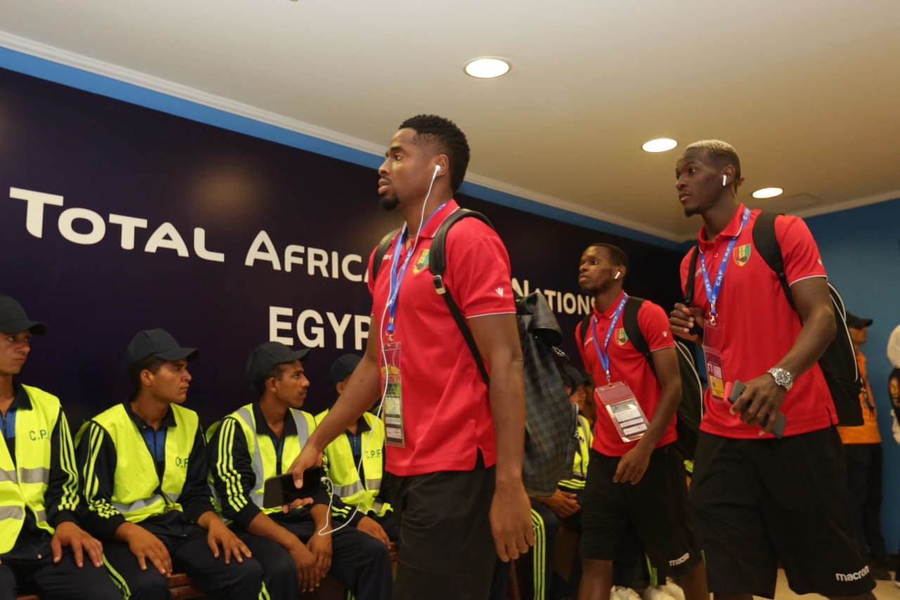 Guinea players arrivals during the 2019 Africa Cup of Nations Finals last 16 match between Algeria and Guinea at 30 June Stadium, Cairo, Egypt on 07 July 2019 ©Samuel Shivambu/BackpagePix