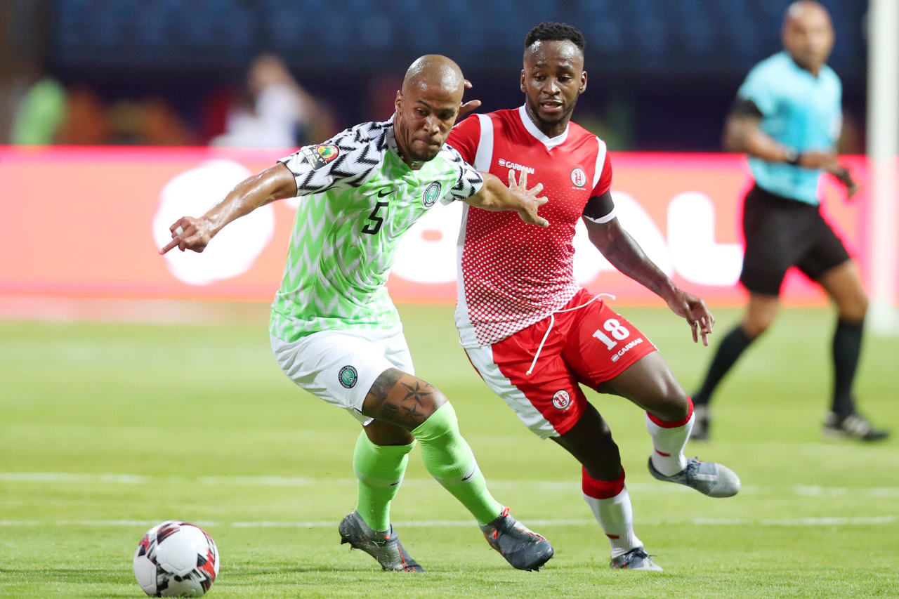 William Paul Ekong of Nigeria challenged by Saido Berahino of Burundi during the 2019 Africa Cup of Nations Finals match between Nigeria and Burundi at the Alexandria Stadium, Alexandria on the 22 June 2019 ©Muzi Ntombela/BackpagePix
