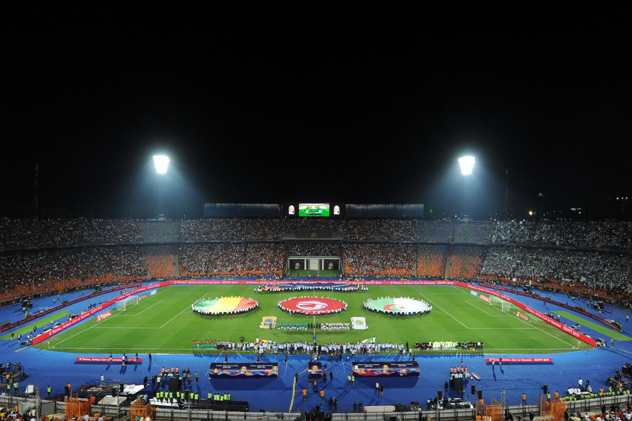 Total Branding on centre circle before the 2019 Africa Cup of Nations Finals Final match between Senegal and Algeria at the Cairo International Stadium in Egypt on 19 July 2019 © Ryan Wilkisky/BackpagePix