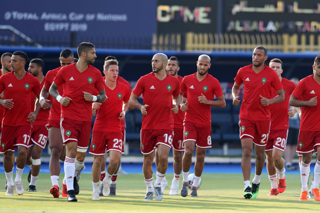 Morocco players warm up during the 2019 Africa Cup of Nations Finals South Africa and Morocco at Al Salam Stadium, Cairo, Egypt on 01 July 2019 ©Samuel Shivambu/BackpagePix