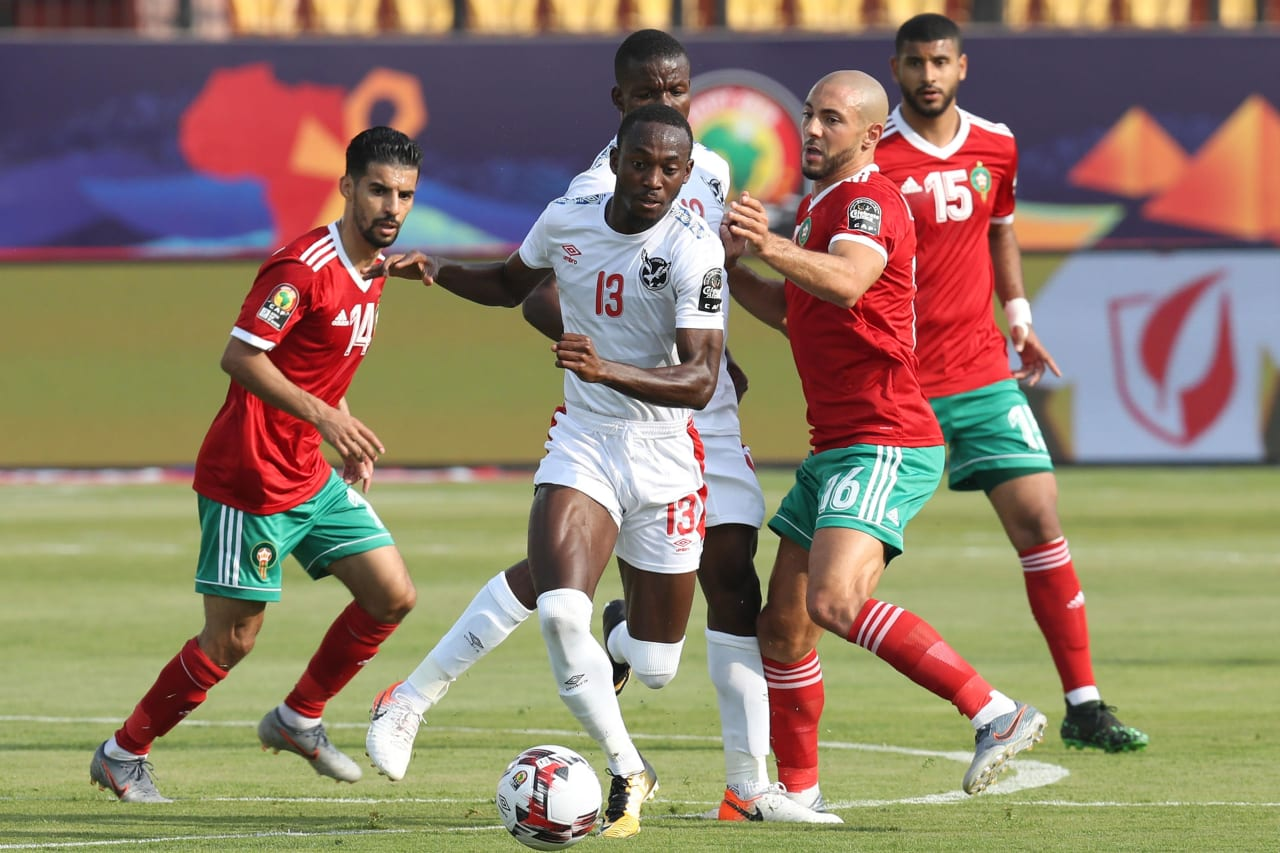 Peter Shalulile of Namibia challenged by Nordin Amaabat of Morocco during the 2019 Africa Cup of Nations Finals match between Morocco and Namibia at Training at Al-Salaam Stadium, Cairo, Egypt on 23 June 2019 ©Samuel Shivambu/BackpagePix