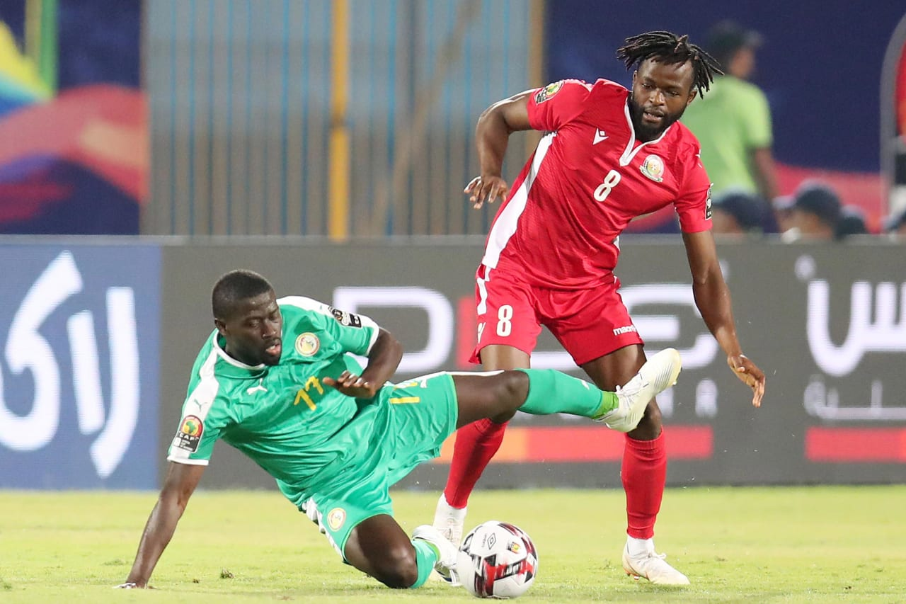 Papa Alioune Ndiaye of Senegal fouled by Johanna Omolo of Kenya during the 2019 Africa Cup of Nations match between Kenya and Senegal at the 30 June Stadium, Cairo on the 01 July 2019 ©Muzi Ntombela/BackpagePix