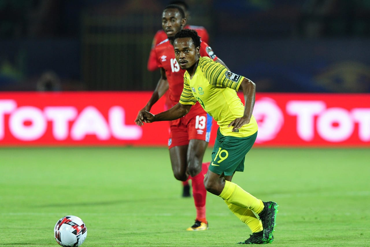 Percy Tau of South Africa ahead of Peter Shalulile of Namibia during the 2019 Africa Cup of Nations Finals match between South Africa and Namibia at Al Salam Stadium in Cairo, Egypt on 28 June 2019 © Ryan Wilkisky/BackpagePix