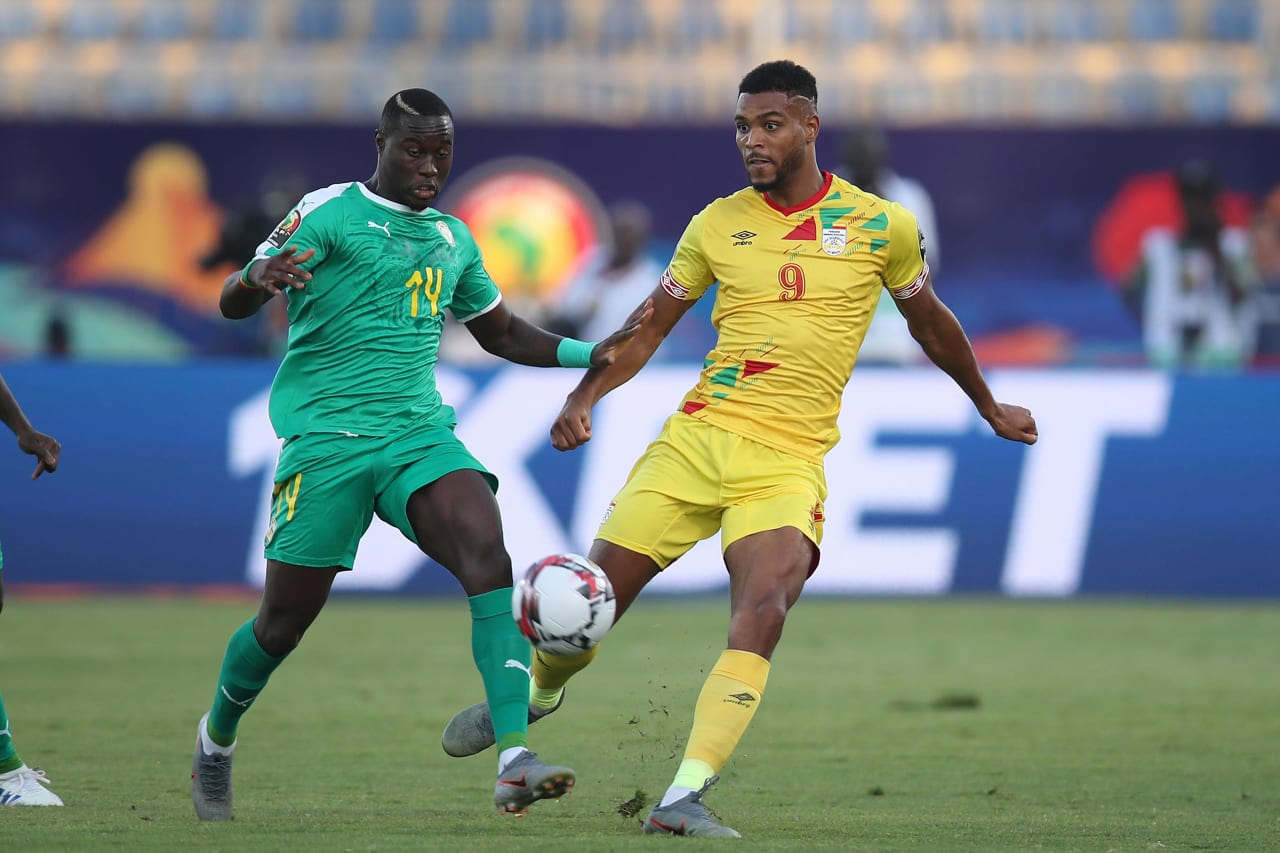 Steve Mounie of Benin challenged by Henri Saivet of Senegal during the 2019 Africa Cup of Nations Quarterfinals match between Senegal and Benin at the 30 June Stadium, Cairo on the 10 July 2019 ©Muzi Ntombela/BackpagePix