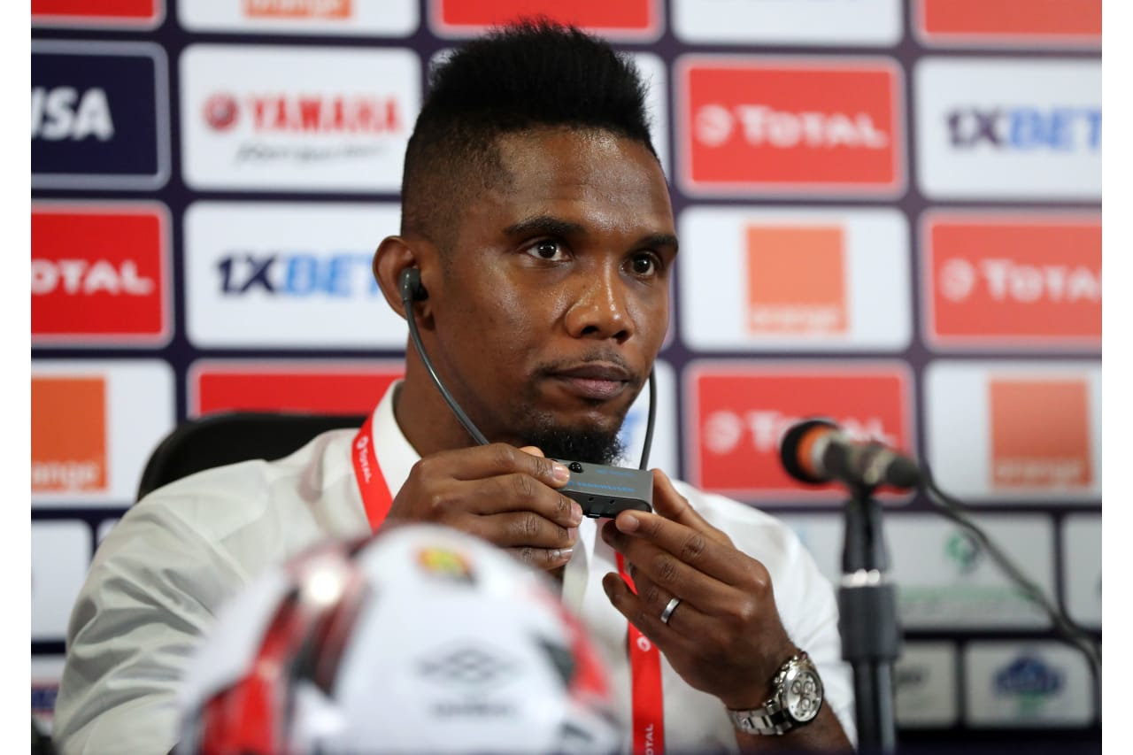Samuel Eto'o, CAF legend during the 2019 Africa Cup of Nations Finals CAF press conference at Cairo International Stadium, Cairo, Egypt on 30 June 2019