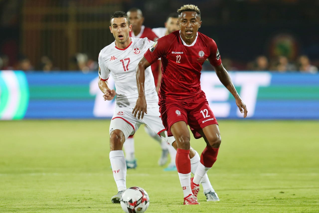 Lalaina Henintsoa Enjanahary of Madagascar challenged by Ellyes Joris Skhiri of Tunisia during the 2019 Africa Cup of Nations Quarterfinals match between Madagascar and Tunisia at the Al Salam Stadium, Cairo on the 10 July 2019 ©Muzi Ntombela/BackpagePix