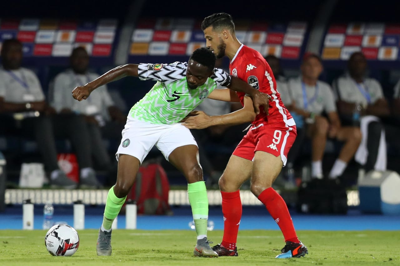 Ahmed Musa of Nigeria challenged by  Anice Badri of Tunisia during the 2019 Africa Cup of Nations Finals, 3rd and 4th place match between Tunisia and Nigeria at Al Salam Stadium, Cairo, Egypt on 17 July 2019 ©Samuel Shivambu/BackpagePix