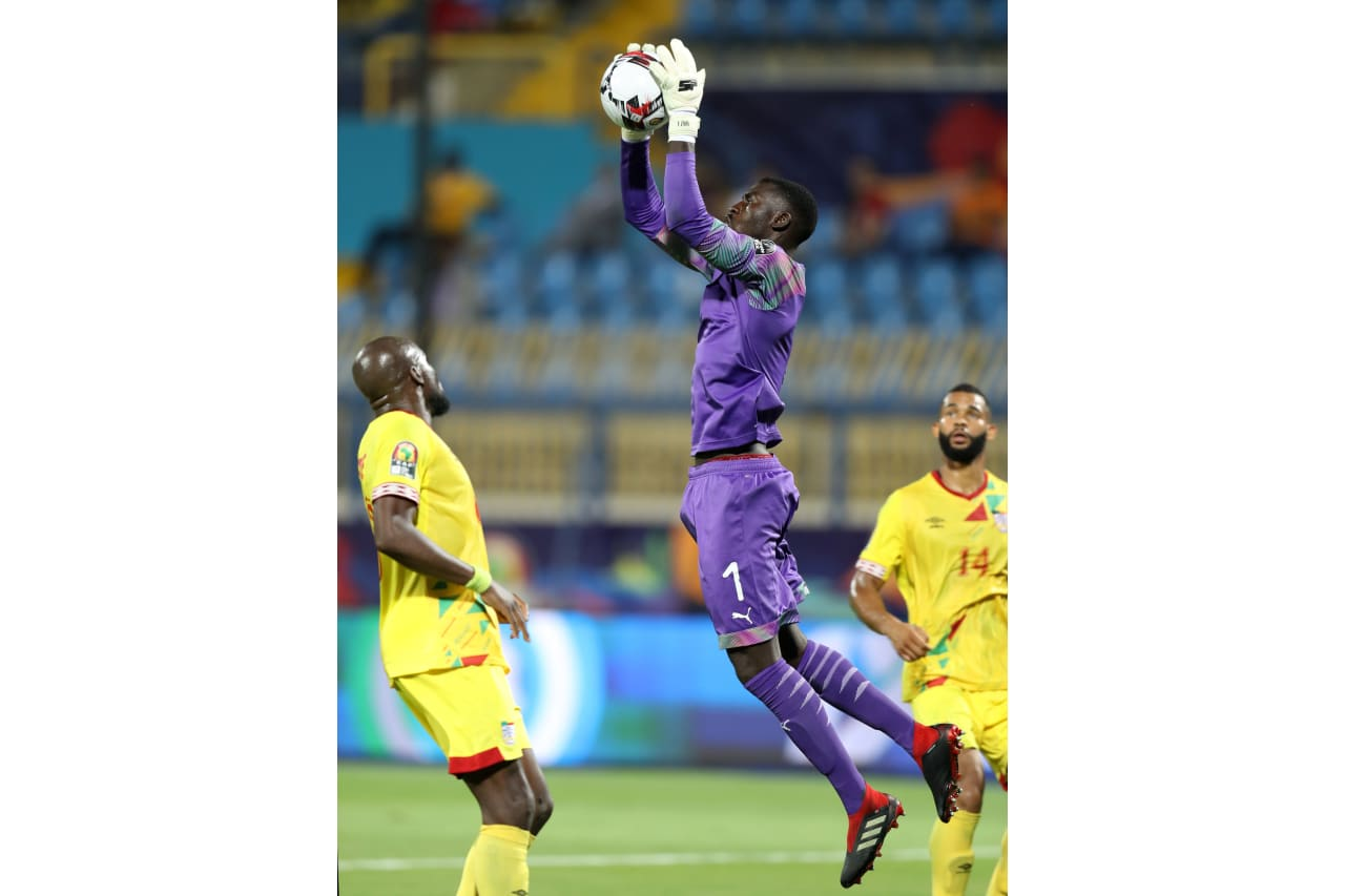 Jonas Mendes of Guinea-Bissau challenged by Mickael Pote of Benin during the 2019 Africa Cup of Nations Finals Benin and Guinea-Bissau at Ismailia Stadium, Ismailia, Egypt on 29 June 2019