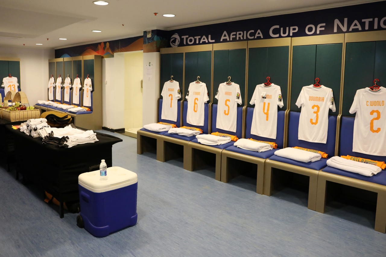Ivory Coast change room during the 2019 Africa Cup of Nations match between Namibia and Ivory Coast at the 30 June Stadium, Cairo on the 01 July 2019 ©Muzi Ntombela/BackpagePix