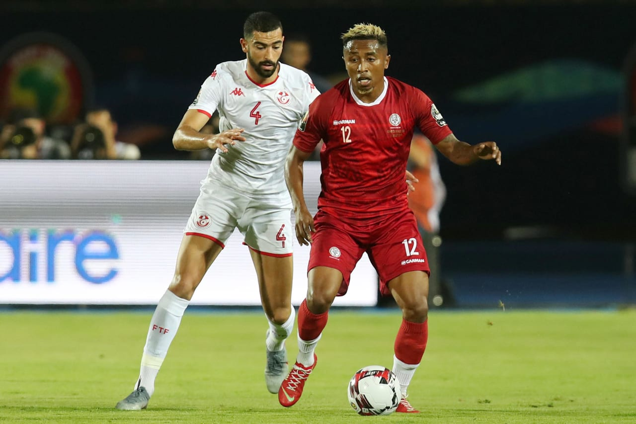 Lalaina Henintsoa Enjanahary of Madagascar challenged by Yassine Merriah of Tunisia during the 2019 Africa Cup of Nations Quarterfinals match between Madagascar and Tunisia at the Al Salam Stadium, Cairo on the 10 July 2019 ©Muzi Ntombela/BackpagePix