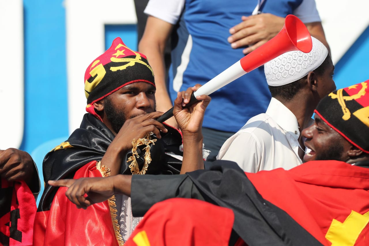 Angola Fans during the 2019 Africa Cup of Nations Finals football match between Mauritania and Angola  at the Suez Stadium, Suez, Egypt on 29 June 2019 ©Gavin Barker/BackpagePix